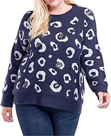 Plus Size Cheetah-Print Sequined Sweater