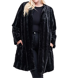 Plus Size Flyaway Faux-Fur Coat