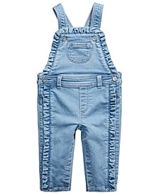 Baby Girls Ruffle-Trim Denim Overalls, Created For Macy's