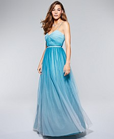 Juniors' Open Lattice-Back Ombré Gown