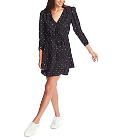 Ruched Polka-Dot Wrap Dress
