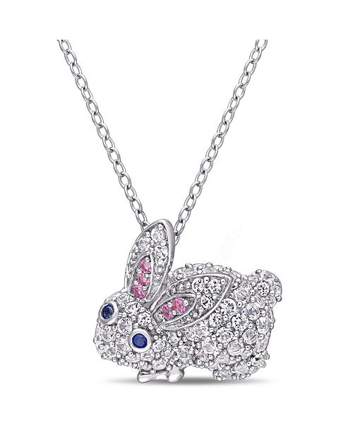 Macy's Multi-Color Created Sapphire (1 1/10 ct. t.w.) Bunny Necklace in Sterling Silver