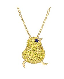Created Blue and Yellow Sapphire (3 ct. t.w.) Chick Bird Necklace in 18k Gold Over Sterling Silver