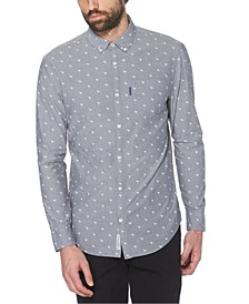 Men's Slim-Fit Flamingo-Print Dobby Shirt