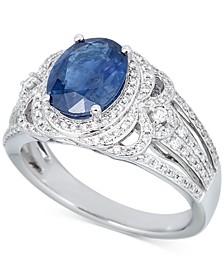 Sapphire (2-1/2 ct. t.w.) & Diamond (1/2 ct .t.w.) Ring in 14k White Gold (Also in Emerald)