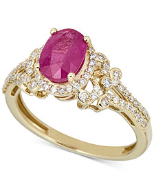 Emerald (1-1/4 ct. t.w.) & Diamond (1/3 ct. t.w.) Ring in 14k Gold (Also in Ruby)