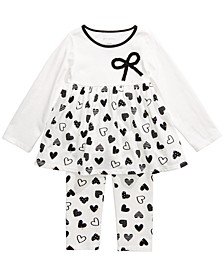 Toddler Girls Bow Heart-Print Tunic & Heart-Print Leggings, Created For Macy's