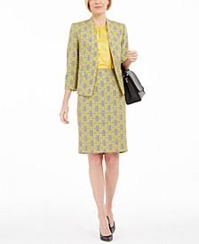 Petite Jacquard Plaid Jacket, Blouse & Skirt