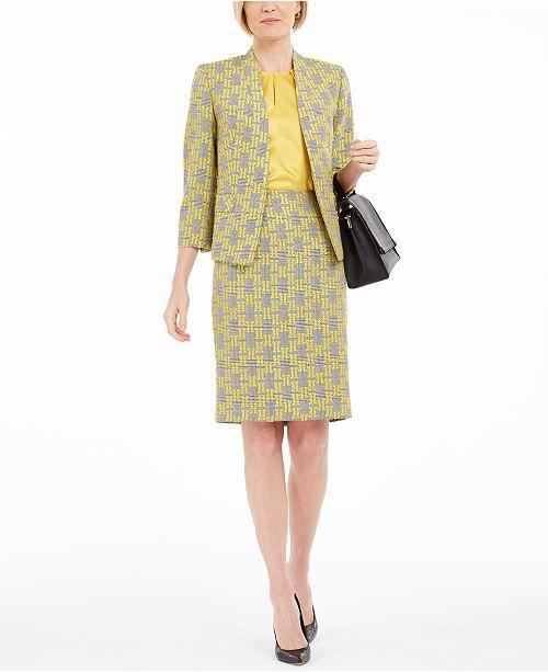 Kasper Petite Jacquard Plaid Jacket, Blouse & Skirt