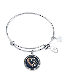 """Sisters are Joined Heart to Heart"" Enamel Bangle Bracelet in Stainless Steel & Rose Gold-Tone with Silver Plated Charms"