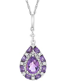 "Multi-Gemstone Teardrop 18"" Pendant Necklace (1 ct. t.w.) in Sterling Silver"