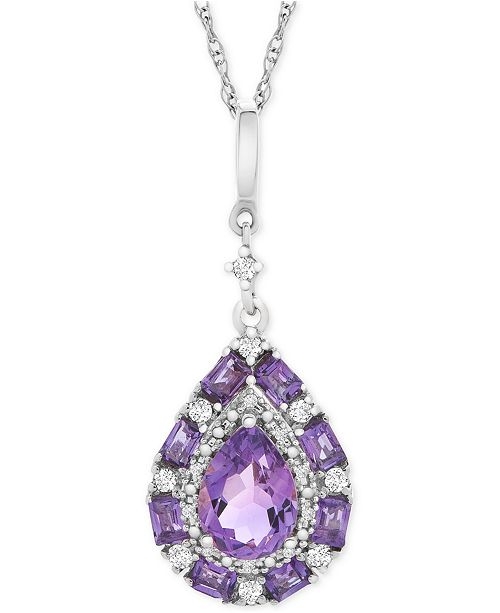 "Macy's Multi-Gemstone Teardrop 18"" Pendant Necklace (1 ct. t.w.) in Sterling Silver"