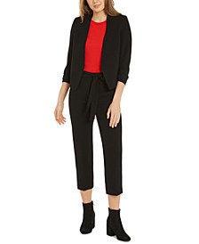 Ruched Blazer, Puff-Sleeve Top & Tie-Waist Pants, Created For Macy's
