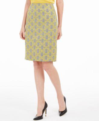 Petite Jacquard Plaid Pencil Skirt
