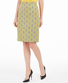 Jacquard Plaid Pencil Skirt