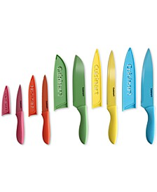 10-Pc. Ceramic-Coated Cutlery Set with Blade Guards
