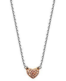 Two-Tone Cubic Zirconia Heart Necklace in Fine Silver Plate