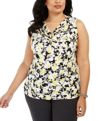 Plus Size Floral-Print Drape-Neck Sleeveless Blouse