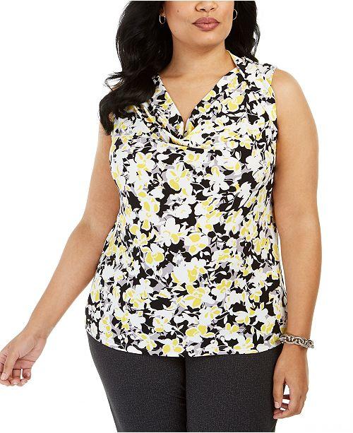 Kasper Plus Size Floral-Print Drape-Neck Sleeveless Blouse