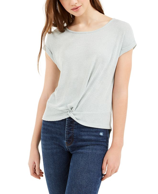 Pink Rose Juniors' Twist Front Ribbed T-Shirt