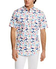 Men's Crane-Print Shirt, Created for Macy's