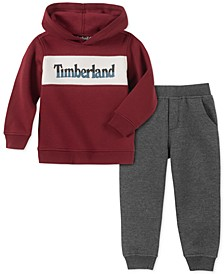 Little Boys 2-Pc. Colorblocked Fleece Logo Sweatshirt & Moto Sweatpants Set