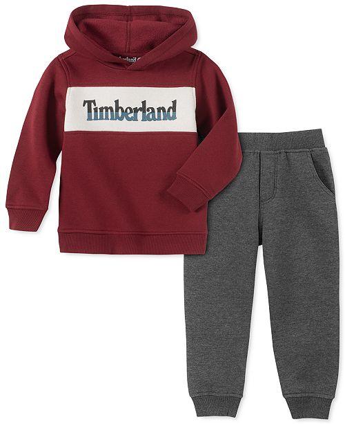 Timberland Toddler Boys 2-Pc. Colorblocked Fleece Logo Sweatshirt & Moto Sweatpants Set