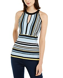 INC Striped Knit Halter Top, Created for Macy's