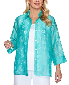 Miami Sheer Shell Print Button-Down Shirt