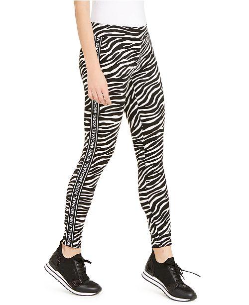 Michael Kors Zebra-Print Logo-Stripe Leggings