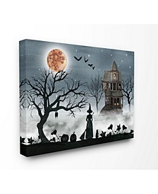 Home Decor Collection Halloween Witch Silhouette in Full Moon Haunted House Scene Wall Art Collection