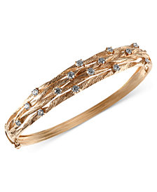 D'Oro by EFFY Diamond Textured Bangle (1 ct. t.w.) in 14k Gold