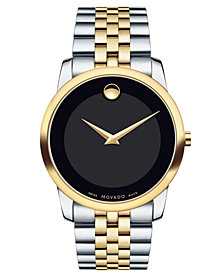 Movado Unisex Swiss Museum Classic Two-Tone Stainless Steel Bracelet Watch 28mm 0606605