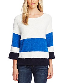 Striped Elbow-Sleeve Teddy Bear Sweater