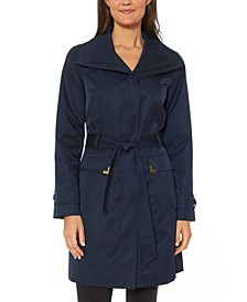 Belted Wing-Collar Raincoat