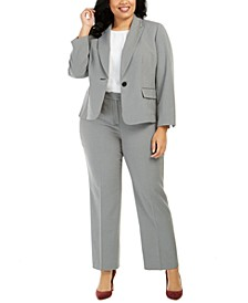 Plus Size Micro-Print Pants Suit