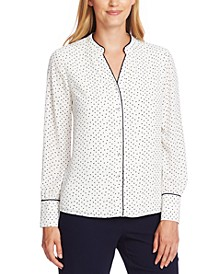 Printed Contrast-Trim Blouse