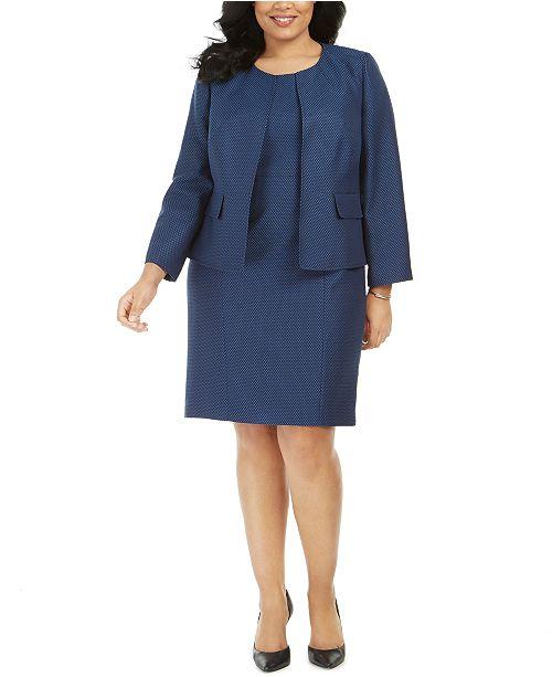 Le Suit Plus Size Jacquard Sheath Dress Suit