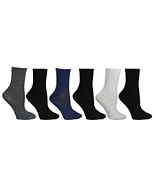 Womens 6 Pack Solid Crew Socks, Online Only