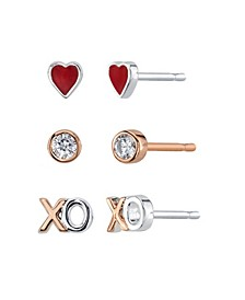 Heart, Cubic Zirconia Bezel And XO Rose Gold Two Tone Post Stud Set Earrings