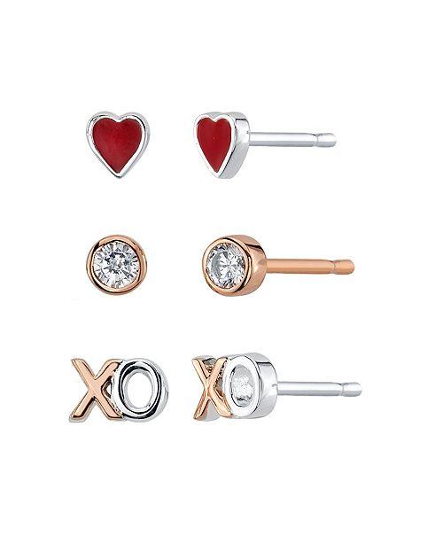 Unwritten Heart, Cubic Zirconia Bezel And XO Rose Gold Two Tone Post Stud Set Earrings