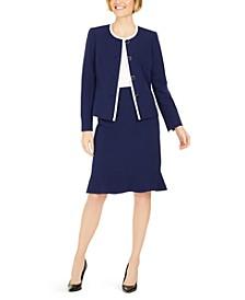 Petite Flounce-Hem Skirt Suit