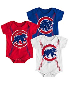 Baby Chicago Cubs Running Home 3 Piece Bodysuit Set