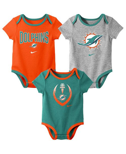 Nike Baby Miami Dolphins Icon 3 Pack Bodysuit Set