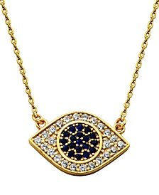 Evil Eye Cubic Zirconia Necklace in Fine Silver Plate