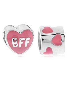 Children's  Enamel BFF Hearts Bead Charms - Set of 2 in Sterling Silver