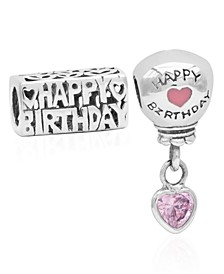 Children's  Happy Birthday Balloon Bead Charms - Set of 2 in Sterling Silver