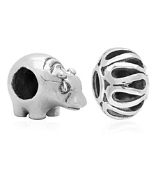 Children's  Hippo Filigree Bead Charms - Set of 2 in Sterling Silver