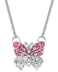 Children's  Crystal Butterfly Pendant Necklace in Sterling Silver