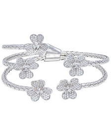 Crystal Flowers  Cuff Bangle in  Sterling Silver